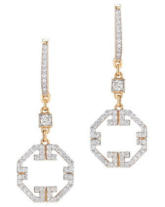 Metropolis 18k Octagonal Pave Diamond Earrings