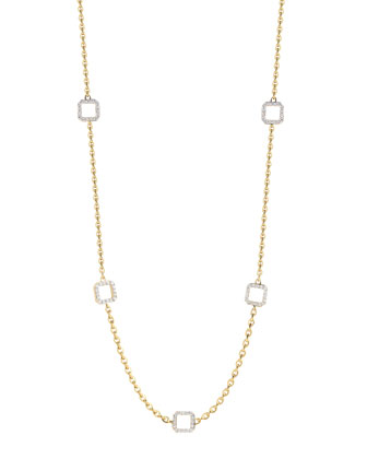 Metropolis 18k 5-Diamond-Cube & Link Necklace
