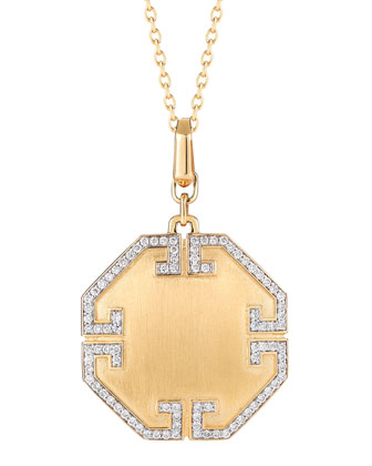 Metropolis 18k Solid Octagonal Pendant with Deco Diamonds
