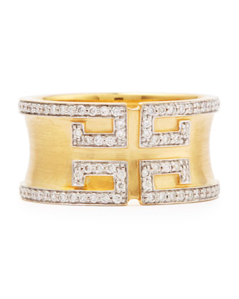 Metropolis Cigar Band Ring with Deco Diamonds