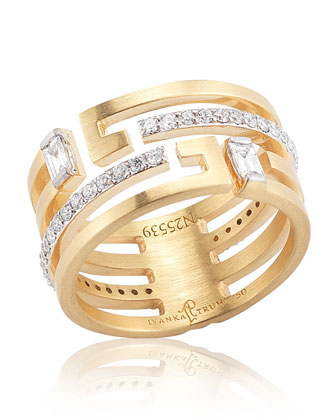 Metropolis 18k Geometric Wedding Band Ring with Deco Diamonds
