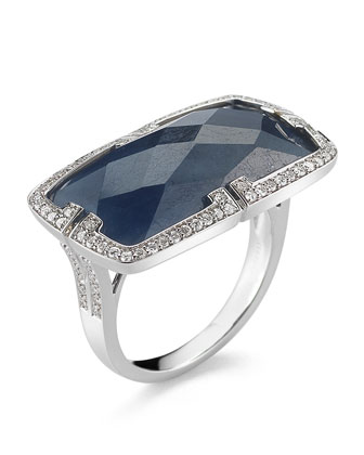 Patras 18k Horizontal Blue Sapphire Ring with Deco Diamonds