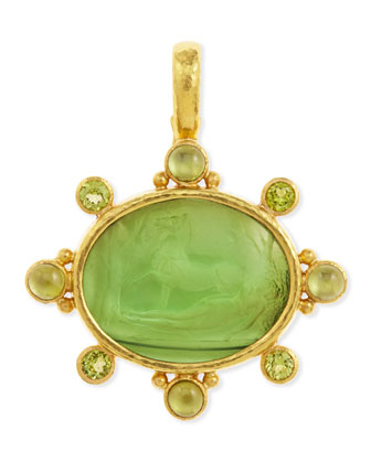 Horse with Sleeping Maiden Antique 19k Gold Intaglio Pendant, Green
