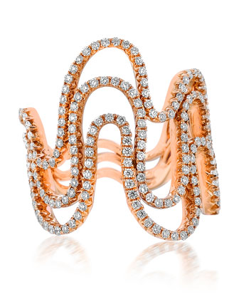 18k Rose Gold Diamond 3-Row Wave Ring