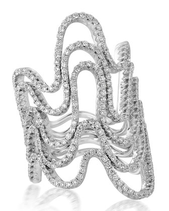 18k White Gold 5-Row Diamond Wave Ring