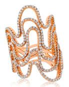18k Rose Gold 5-Row Diamond Wave Ring