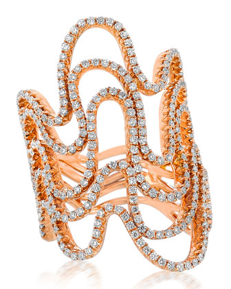 18k Rose Gold 5-Row Diamond Wave Ring