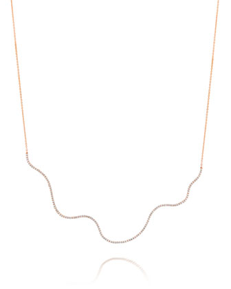 18k Rose Gold Large Wave Diamond Necklace