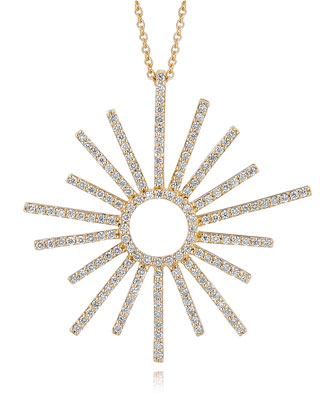18k Yellow Gold Small Sunburst Diamond Pendant Necklace