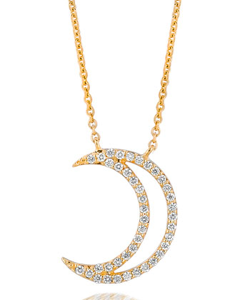 18k Yellow Gold Small Moon Pendant Necklace