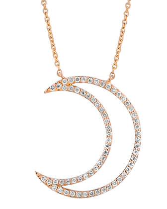 18k Rose Gold Large Moon Diamond Pendant Necklace