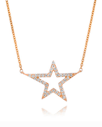 18k Rose Gold Small Star Diamond Pendant Necklace