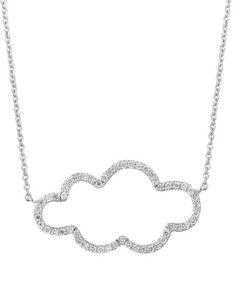 18k White Gold Small Cloud Diamond Pendant Necklace