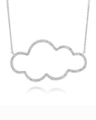 18k White Gold Medium Cloud Diamond Pendant Necklace