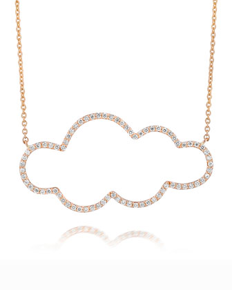 18k Rose Gold Medium Cloud Diamond Pendant Necklace