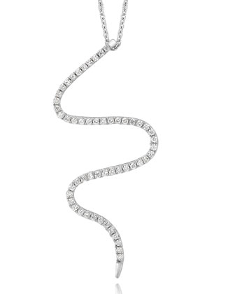 18k White Gold Small Snake Diamond Pendant Necklace