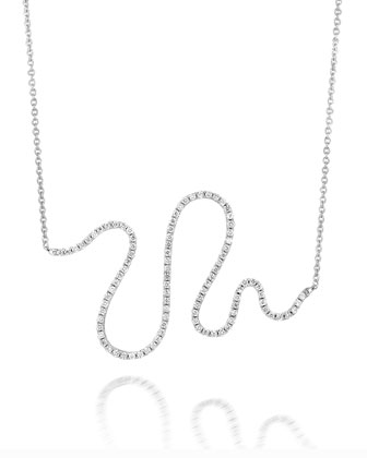 18k White Gold Large Snake Diamond Pendant Necklace
