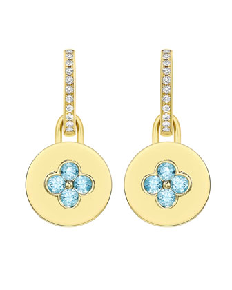 Domino Blue Topaz Four Stone Earrings in 18k Yellow Gold