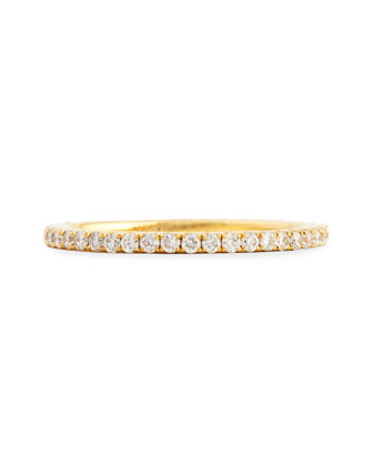 18k Yellow Gold & Pave White Diamond Micro Band Ring