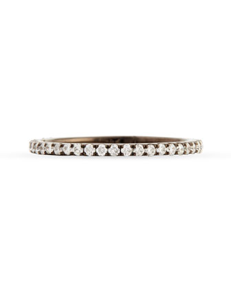 18k Black Gold & Pave White Diamond Micro Band Ring