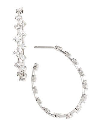 18k White Gold Round Diamond-Station Hoop Earrings, 2.66 TCW