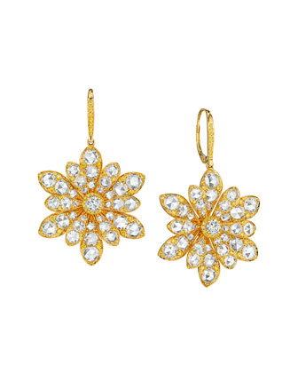 18k Yellow Gold Round and Rose-Cut Diamond Flower Drop Earrings