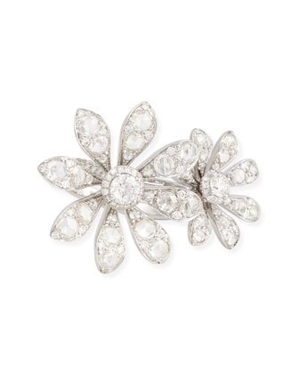 18k White Gold Diamond Double Flower Ring