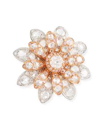 18k White/Rose Gold Round & Rose-Cut Diamond Flower Ring