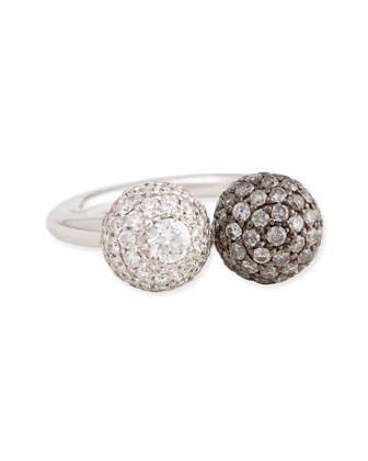 18k White Gold Pave White & Gray Diamond Ball Ring, 0.92 TCW ...