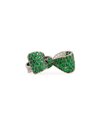 Bow Large 18k Gold Emerald & Diamond Ring, Size 6