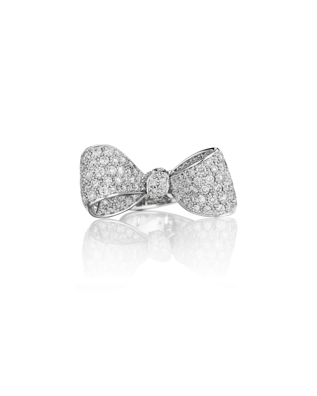 Bow Mid Size 18k White Gold Diamond Ring, Size 6   Mimi So   White (6)