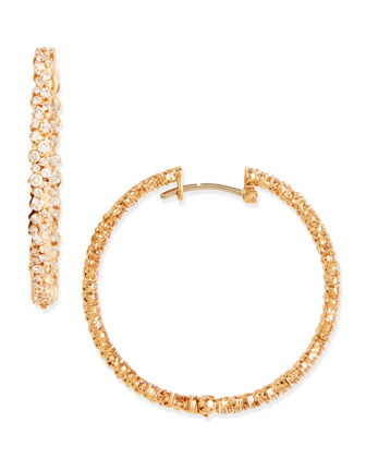 18k Pink Gold Diamond Confetti Hoop Earrings