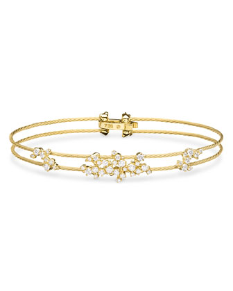 Diamond Confetti Double Wire Bracelet, Yellow Gold