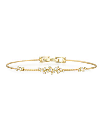 Diamond Confetti Single Wire Bracelet, Yellow Gold