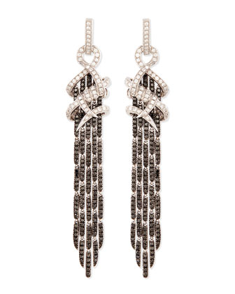 18k White Gold Diamond Barb Earrings with Black Diamond Fringe