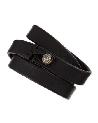 Black Leather Wrap Bracelet with Diamond Bead