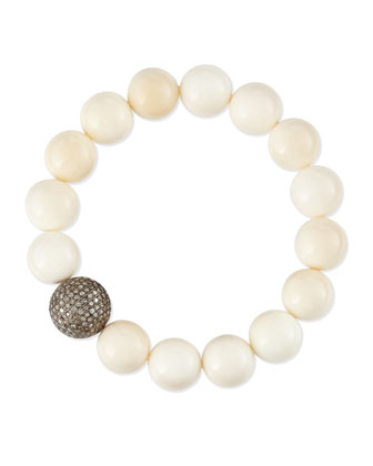 12mm Bone & 14mm Single Pave Diamond Beaded Bracelet