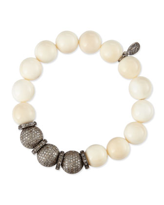 12mm Bone & Triple Pave Diamond Beaded Bracelet with Rondelles