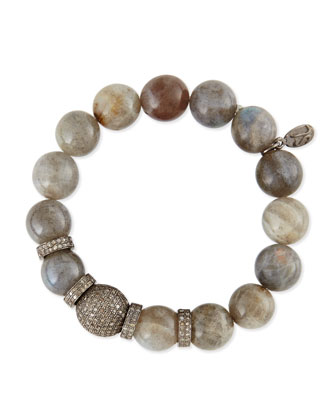 12mm Labradorite Beaded Bracelet with 10mm Diamond Rondelles, 3.65 TCW