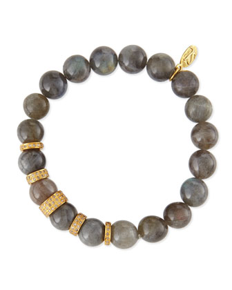 10mm Labradorite Beaded Bracelet with 8mm & 10mm Pave Diamond Rondelles