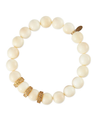 10mm Bone Beaded Bracelet with Diamond Rondelles