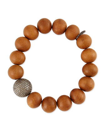 14mm Sandalwood & 16mm Single Pave Diamond Beaded Bracelet