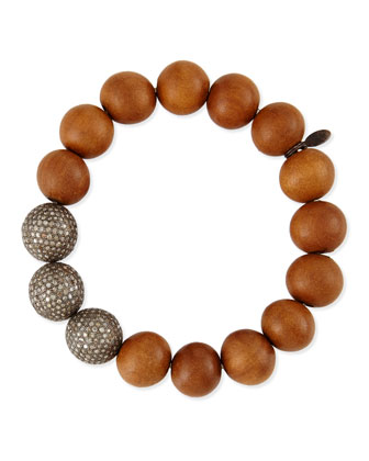 14mm Sandalwood & Triple Pave Diamond Beaded Bracelet, 6.63 TCW