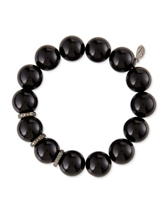14mm Black Onyx Beaded Bracelet with 10mm Diamond Rondelles