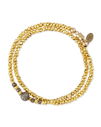 Golden-Coated Pyrite Double-Wrap Bracelet with Diamonds