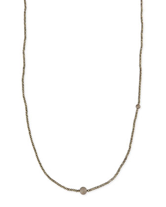 Faceted Pyrite Necklace with Pave Diamond Beads, 44