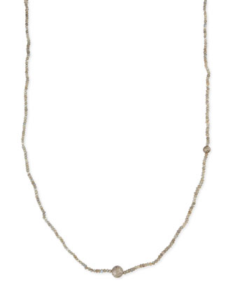 Faceted Labradorite Necklace with Pave Diamond Beads, 44