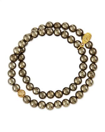 6mm Pyrite Beaded Wrap Bracelet with Diamonds