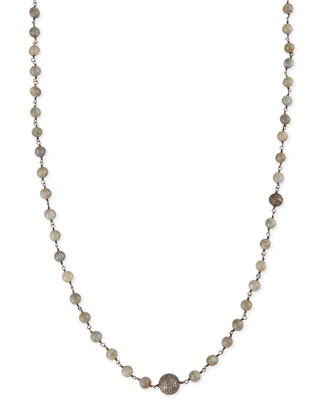 Polished Labradorite Necklace with Pave Diamond Beads, 44