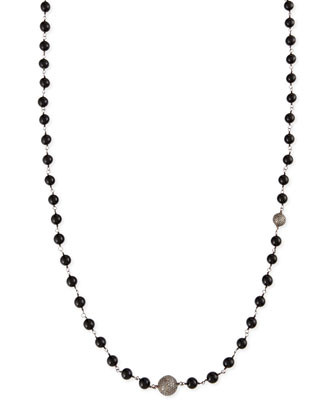 Polished Black Onyx Necklace with Pave Diamond Beads, 44